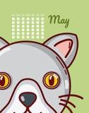 Conceito do gato e dos desenhos animados do calendário Imagens de Stock Royalty Free