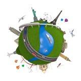 Conceito do globo do curso do mundo isolado ilustração royalty free