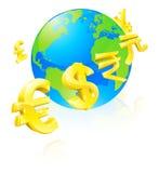 Conceito do globo dos sinais de moedas Fotos de Stock Royalty Free