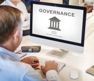 Conceito do gráfico da coluna do governo da autoridade Fotografia de Stock Royalty Free