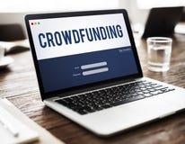 Conceito do gráfico da empresa do dinheiro de Crowdfunding fotografia de stock