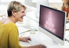 Conceito do gráfico da esperança do cuidado da luta do apoio do câncer da mama imagens de stock