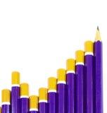 Conceito do gráfico de barra do lápis fotos de stock