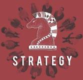 Conceito do gráfico de Chess Piece Strategy do cavaleiro ilustração royalty free