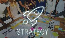 Conceito do gráfico de Rocketship dos objetivos da partida de negócio Imagens de Stock