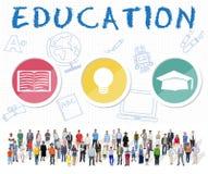 Conceito do gráfico do ícone do livro do chapéu da ampola da palavra da educação Fotografia de Stock Royalty Free