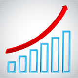 Conceito do gráfico do crescimento com seta ricing ilustração do vetor