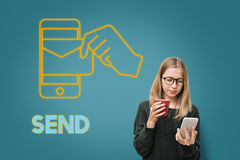 Conceito do gráfico do email da tecnologia do correio eletrônico Fotografia de Stock Royalty Free