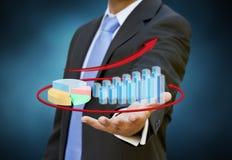 Conceito do gráfico do homem de negócios Fotografia de Stock