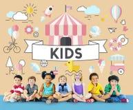 Conceito do gráfico dos povos das jovens crianças das crianças Foto de Stock