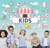 Conceito do gráfico dos povos das jovens crianças das crianças Fotografia de Stock Royalty Free