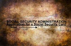 Conceito do grunge do formulário da segurança social fotos de stock