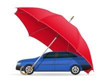 Conceito do guarda-chuva protegida e dos segurados do carro Fotos de Stock Royalty Free
