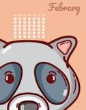 Conceito do guaxinim e dos desenhos animados do calendário Imagem de Stock Royalty Free