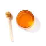 Conceito do hashanah de Rosh (feriado do jewesh) - vista superior do mel no branco símbolos tradicionais do feriado Fotografia de Stock Royalty Free
