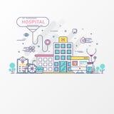 Conceito do hospital - linha lisa estilo das imagens médicas O grupo de cuidados médicos contém elementos e estetoscópio do ícone ilustração do vetor