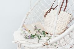 Conceito do hygge do verão com a cadeira da rede no jardim Foto de Stock