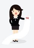 Conceito do imposto da mulher de negócio Fotos de Stock