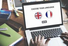 Conceito do inglês-francês do dicionário de língua fotos de stock royalty free