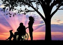 Conceito do inquietação com uma pessoa deficiente e uma casa do envelhecido ilustração do vetor