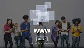Conceito do Internet da conexão dos meios do Web site da Web imagem de stock royalty free