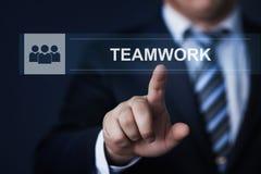 Conceito do Internet da tecnologia do negócio da cooperação da parceria de Successs do desenvolvimento de equipas dos trabalhos d Imagem de Stock