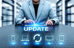 Conceito do Internet da tecnologia do negócio da elevação do programa informático do software da atualização imagens de stock