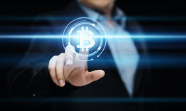 Conceito do Internet do negócio da tecnologia da moeda da moeda BTC do bocado de Bitcoin Cryptocurrency Digital Fotografia de Stock