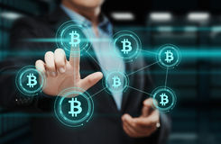 Conceito do Internet do negócio da tecnologia da moeda da moeda BTC do bocado de Bitcoin Cryptocurrency Digital Foto de Stock