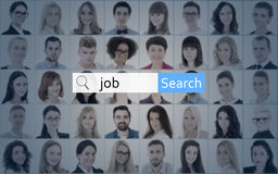 Conceito do Internet e da procura de emprego - procure a barra sobre a colagem do peo Fotografia de Stock