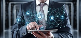 Conceito do Internet do negócio da tecnologia da moeda da moeda BTC do bocado de Bitcoin Cryptocurrency Digital imagens de stock royalty free