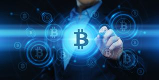 Conceito do Internet do negócio da tecnologia da moeda da moeda BTC do bocado de Bitcoin Cryptocurrency Digital ilustração do vetor