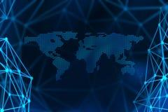 Conceito do Internet do negócio global, símbolos da conexão communic Imagens de Stock