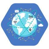 Conceito do Internet Projeto liso da ilustração Enterre o ícone no fundo azul com wifi, lugar dos gps, ponto quente, correio, íco Fotografia de Stock