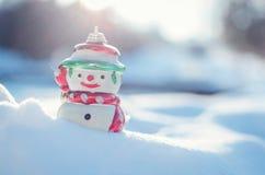 Conceito do inverno com o boneco de neve no fundo da neve Fotografia de Stock Royalty Free
