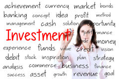 Conceito do investimento da escrita da mulher de negócio Isolado no branco foto de stock royalty free