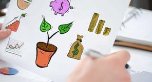 Conceito do investimento em um papel imagens de stock