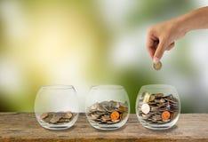 Conceito do investimento Mão que guarda a colocação de moedas Imagem de Stock