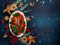 Conceito do jantar do Natal ou do ano novo Vista superior fotografia de stock