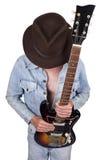 Conceito do jogador de guitarra do músico da estrela do rock and roll Fotografia de Stock Royalty Free