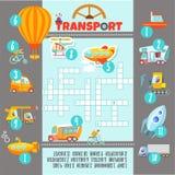 Conceito do jogo das palavras cruzadas sobre o transporte Fotos de Stock Royalty Free