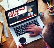 Conceito do jornal do título da transmissão do artigo de notícias de última hora Imagens de Stock Royalty Free