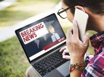 Conceito do jornal do título da transmissão do artigo de notícias de última hora Fotos de Stock Royalty Free