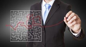 Conceito do labirinto do homem de negócios Fotografia de Stock