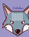 Conceito do lobo e dos desenhos animados do calendário Fotografia de Stock