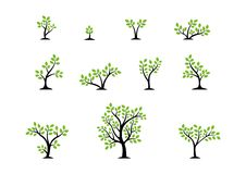 Conceito do logotipo da árvore, grupo de vetor do projeto do ícone do símbolo do bem-estar da natureza das árvores Imagem de Stock Royalty Free