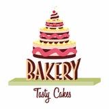 Conceito do logotipo, da etiqueta ou do símbolo de projeto da padaria com bolo saboroso Fotografia de Stock
