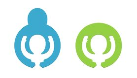 Conceito do logotipo do dia das crianças s - o aperto interno do bebê entrega o cuidado para crianças, símbolo da caridade imagem de stock royalty free