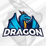 Conceito do logotipo do dragão Projeto da mascote do esporte Sinal asiático do animal, vetor da equipe da escola ilustração stock