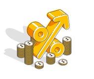 Conceito do lucro da renda da taxa de porcentagem, s?mbolo dimensional dos por cento com a pilha do dinheiro do dinheiro isolada  ilustração royalty free